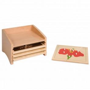 Puzzle botaniczne - komoda na 4 puzzle, Nienhuis Montessori